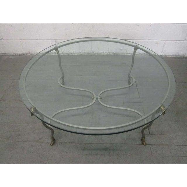 Italian Steel & Brass Coffee Table w/ Ram's Head For Sale - Image 4 of 7