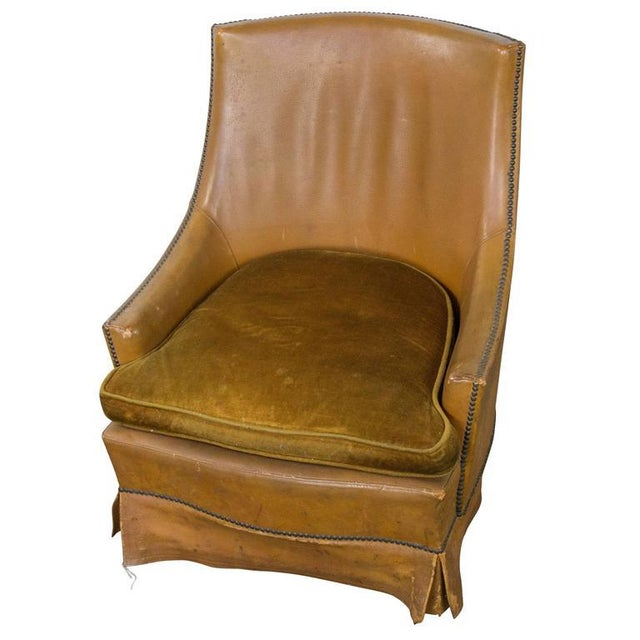 French Leather Armchair With Brass Nailheads - Image 10 of 10