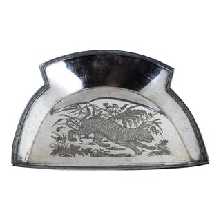 Antique Silverplate Aesthetic Tiger Tray For Sale