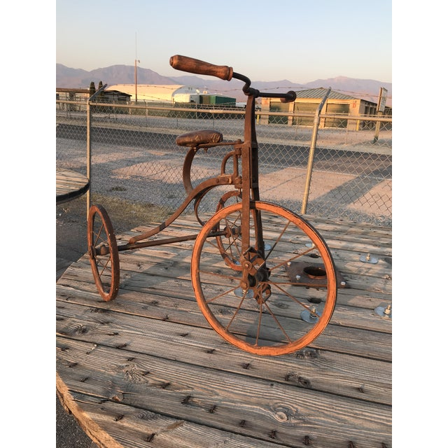 Victorian Early 1900s Antique Industrial Cast Iron Tricycle For Sale - Image 3 of 13