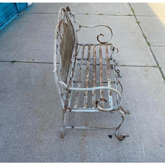 Shabby Chic French Antique Wrought Iron Outdoor Folding Bench For Sale - Image 3 of 12