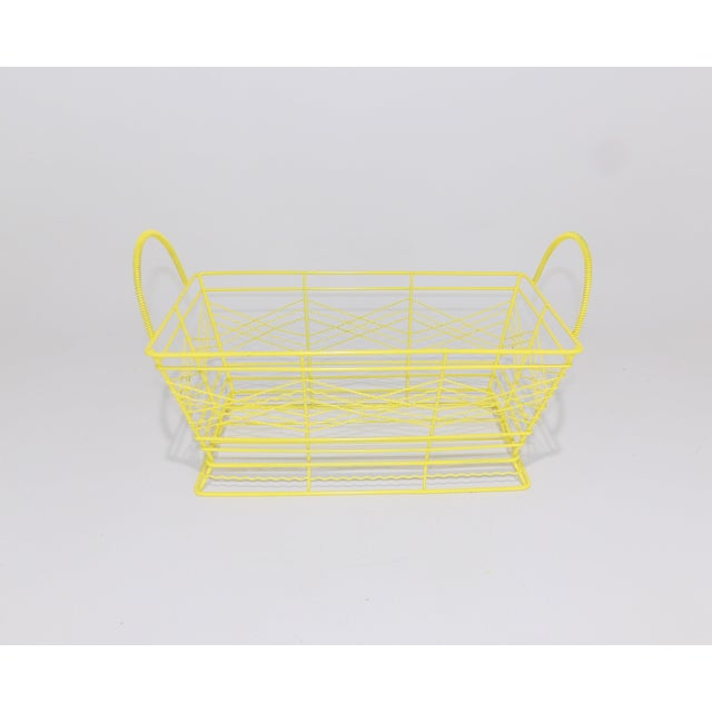 Mid-Century Modern Contemporary Electric Yellow Bathroom Metal Wire Toiletries Catchall For Sale - Image 3 of 8