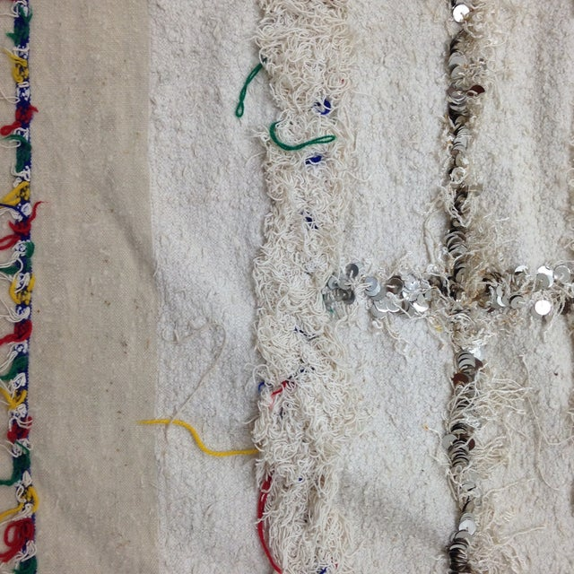Moroccan Sequin Handira Wedding Blanket - Image 3 of 4