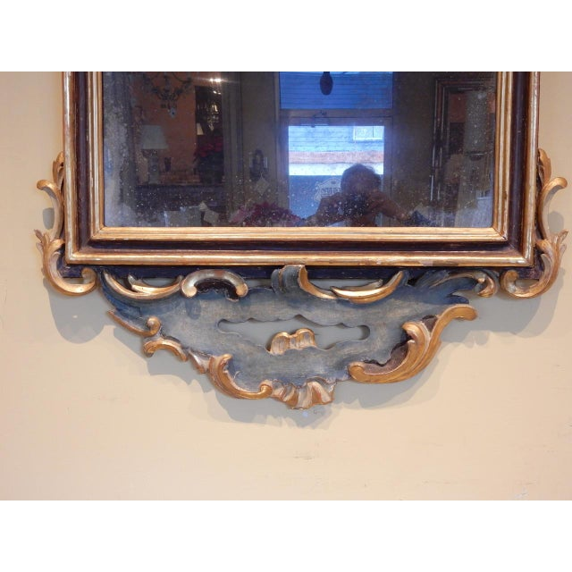 Early 19th Century Italian Rococo Painted and Gilt Mirror For Sale - Image 4 of 10