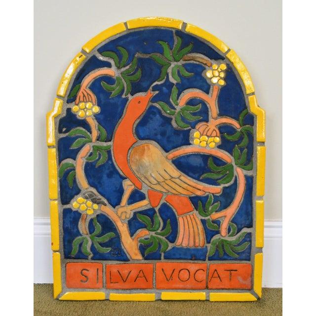 """Blue 1960s Vintage Henry Mercer Moravian Tile Works Red Bird on Branch """"Silva Vocat"""" Plaque For Sale - Image 8 of 12"""