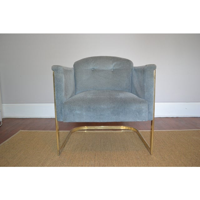 Milo Baughman Style Brass Frame Club Chair - Image 2 of 5