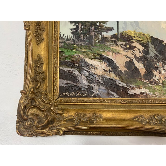 1910s Large Mountain Scene Oil Painting in Gilt Frame For Sale - Image 5 of 13