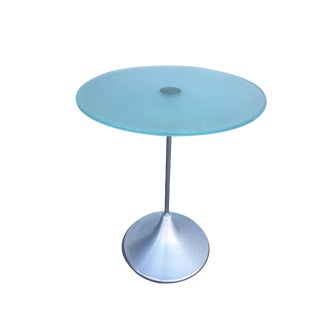 Modern Round Glass Side Table W/ Spun Aluminum Cone Base, Available-6 For Sale