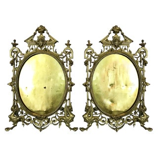 French Louis XV Style Gilt Brass Figural Frames - a Pair For Sale