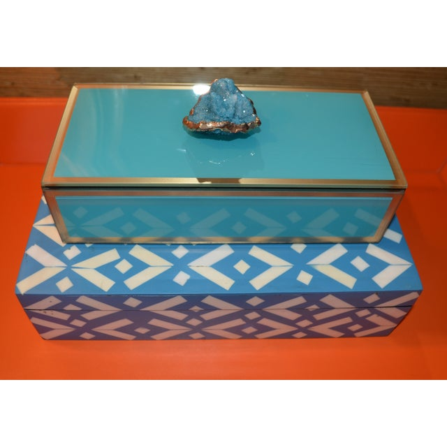 Turquoise Geode Glass Trinket Box For Sale - Image 5 of 8