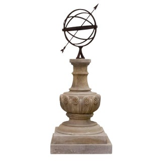 20th Century William IV Style Limestone Sundial Garden Ornament For Sale
