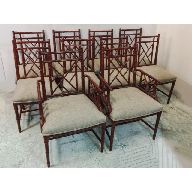 This faux bamboo dining set was manufactured by Century in the 70s. The finish is original, but the seats have a new...