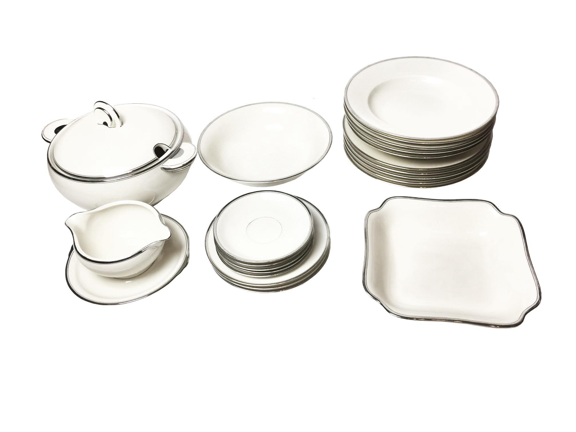 1920s Vintage Art Deco Style White \u0026 Silver Dinnerware Set - 22 Pieces  sc 1 st  Chairish & 1920s Vintage Art Deco Style White \u0026 Silver Dinnerware Set - 22 ...