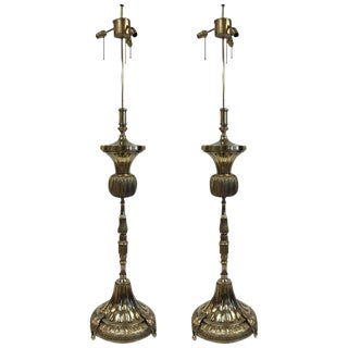 Pair Tall French Antique Polished Bronze Floor Lamps For Sale