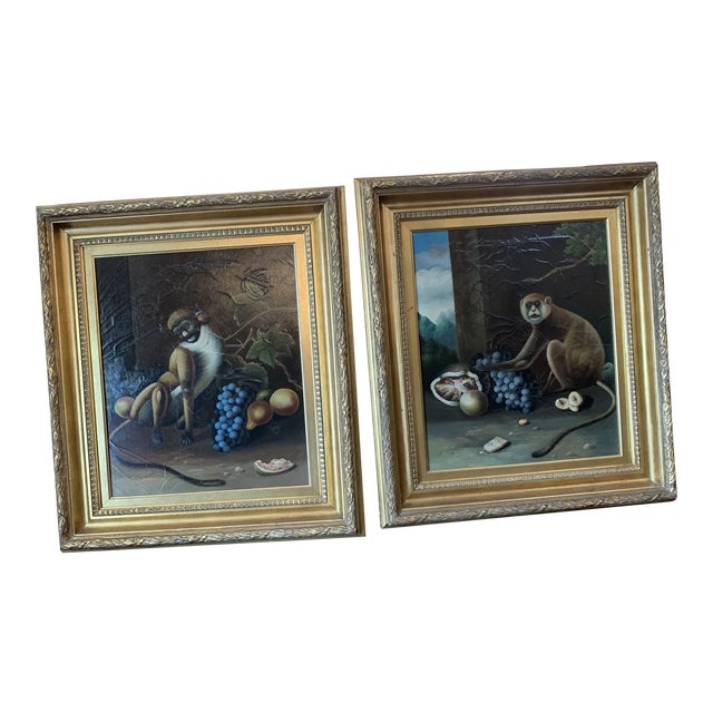 1960s Vintage Framed Monkey Paintings - A Pair For Sale