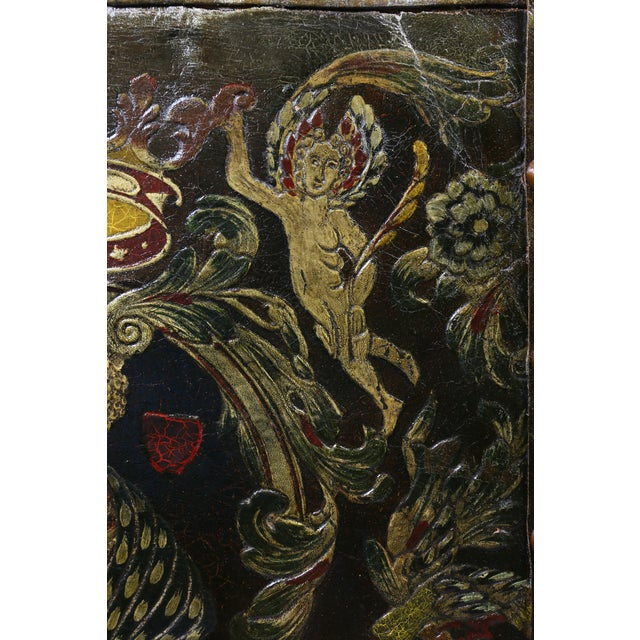 Baroque European Embossed Leather Four-Panel Screen For Sale - Image 3 of 6