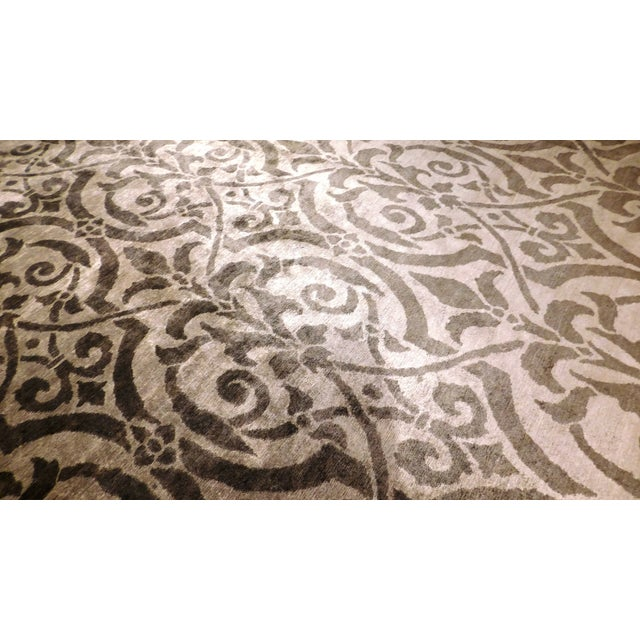 "Contemporary Bamboo Silk Damask Rug - 8′9″ × 11′9"" - Image 4 of 5"