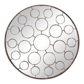 Vintage Mid Century Round Sculptural Sunburst Mirror For Sale