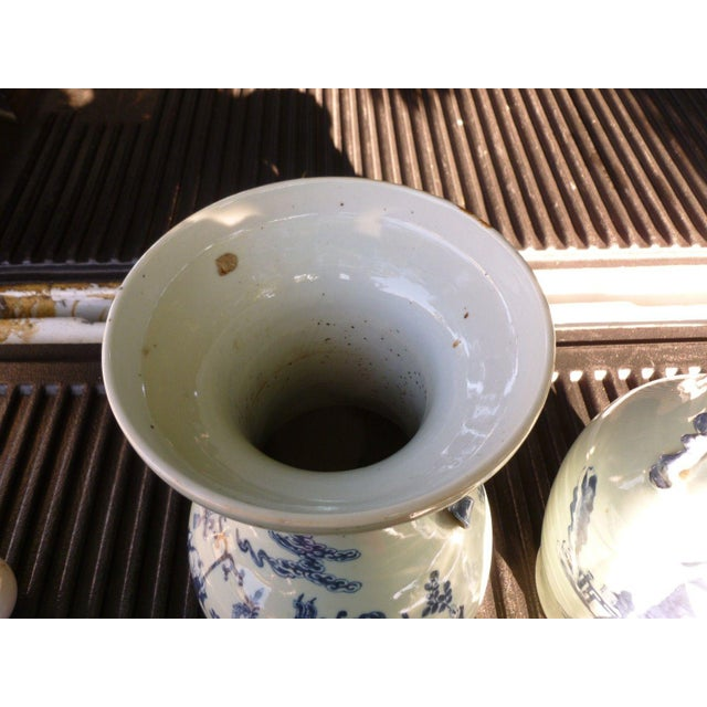 19th Century Qing Chinese Blue & White on Celadon Ground Vases - a Pair For Sale - Image 12 of 13
