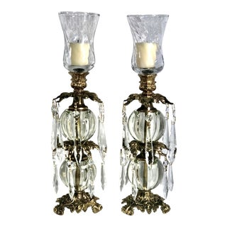 Vintage L & L Wmc 1973 Brass Glass Candle Holders Crystals - a Pair For Sale