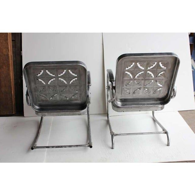 Mid Century Metal Garden Chairs- A Pair For Sale In Greensboro - Image 6 of 6