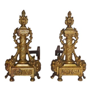 Late 19th Century Neoclassical Andirons - a Pair For Sale