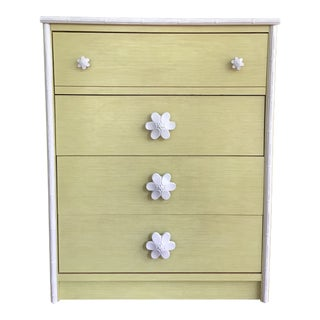 1970s Dorothy Draper Style Citron Pinwheel Chest For Sale