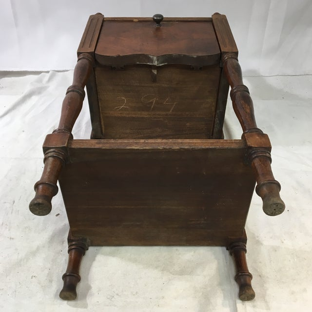Brown Antique Oak Copper-Lined Humidor Smoking Side Table For Sale - Image 8 of 12