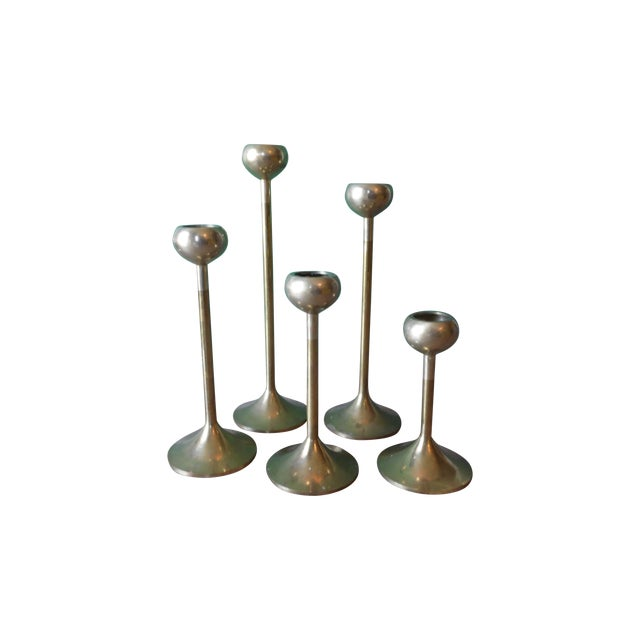 Brass Candlestick Holders- Set of 5 - Image 1 of 4