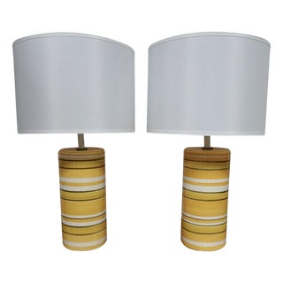Pair of Mid-Century Yellow Ceramic Table Lamps For Sale