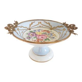 Vintage Limoges Porcelain & Bronze Compote Dish For Sale
