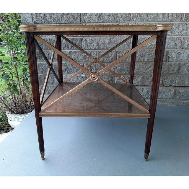Theodore Alexander Theodore Alexander Eglomise Walnut End Lamp Table With Lower Shelf, Glass and Brass Accents For Sale - Image 4 of 13