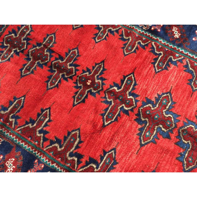 1970s Red & Navy Vintage Hand Knotted Turkish Rug For Sale - Image 5 of 9