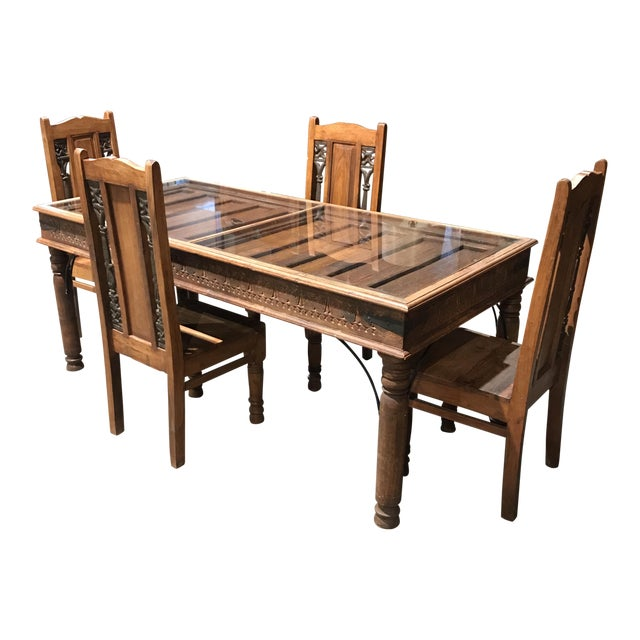 Rustic Antique Door Table & Chairs - Set of 5 - Image 1 of 8