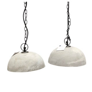 Dome Concrete Pendant Lights - a Pair For Sale