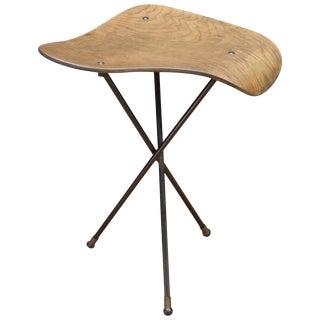 Vintage Plywood Perch Table Assemblage on Iron Rod Tripod For Sale