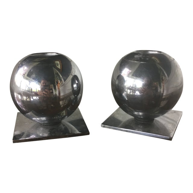 1930s Vintage Art Deco Chase Chrome Spherical Candlesticks - a Pair For Sale