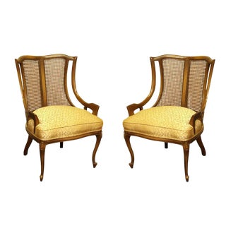Upholstered Wicker Back Chairs - A Pair