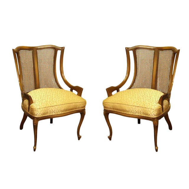 Upholstered Wicker Back Chairs - A Pair For Sale