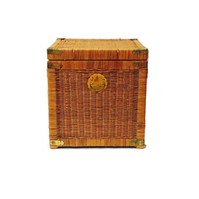Vintage Rattan Cube End Table/Box - Image 3 of 6