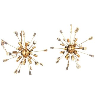 Pair of Brass 18 Light Sputnik Chandeliers in Mid-Century Modern Style For Sale