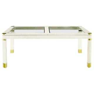 Karl Springer Style Off-White Lacquered Wood, Brass and Glass Dining Table For Sale