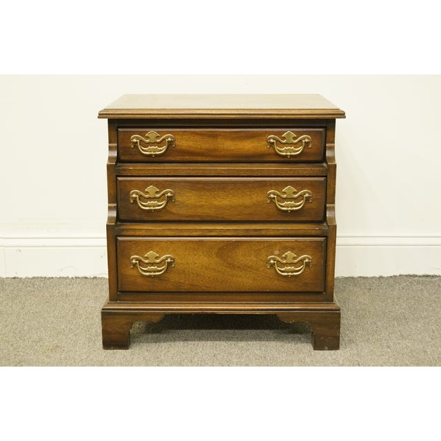 Mahogany 20th Century Traditional National Mount Airy Solid Mahogany Tiered 3 Drawer Accent Table For Sale - Image 7 of 13