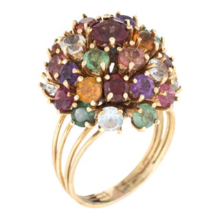 1950s Tourmaline Amethyst & 18K Gold Dome Ring For Sale