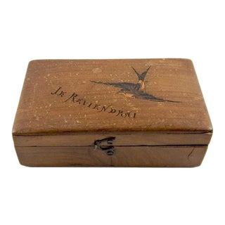 Late 19th Century Antique French Bird Inlay Stamp Box