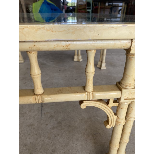 Vintage Faux Bamboo Fretwork Coffee Table For Sale - Image 6 of 13