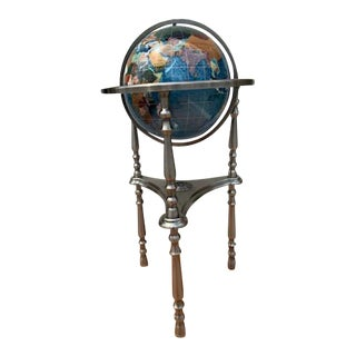 Floor Standing Gemstone World Earth Globe on 3-Leg Stand For Sale