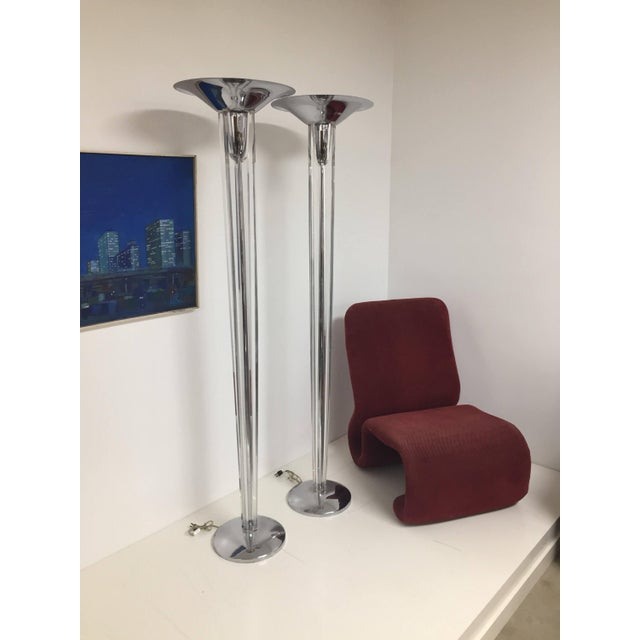 Mid-Century Modern Chrome and Lucite Torchiere Floor Lamps - a Pair For Sale In Houston - Image 6 of 10
