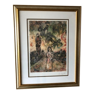 1970s Vintage Marc Chagall Color Lithograph Print For Sale