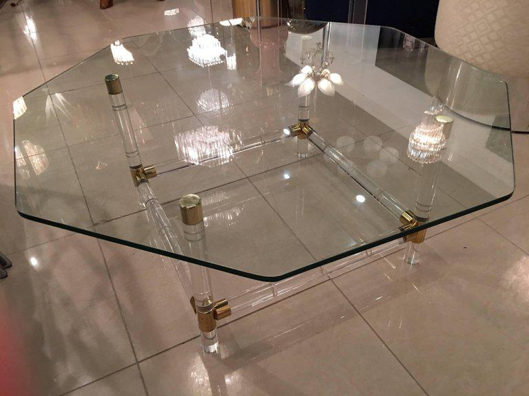 Charles Hollis Jones Brass U0026 Lucite Faux Bamboo Coffee Table   Image 9 ...